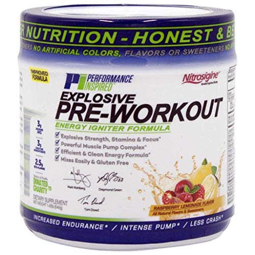 Performance Inspired Nutrition Pre-Workout Powder - All Natural - G-Free & Vegan Formula - Contains Citrulline - Nitrosigine - Green Tea - Arginine - Beta Alanine - Raspberry Lemonade - 23.84 Ounce