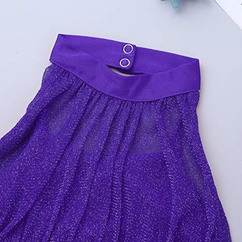 CHICTRY Kids Girls Dance Mock Neck Crop Tops with Hi-Lo Skirt set Lyrical Modern Dancewear Costumes Purple 10-12 Years