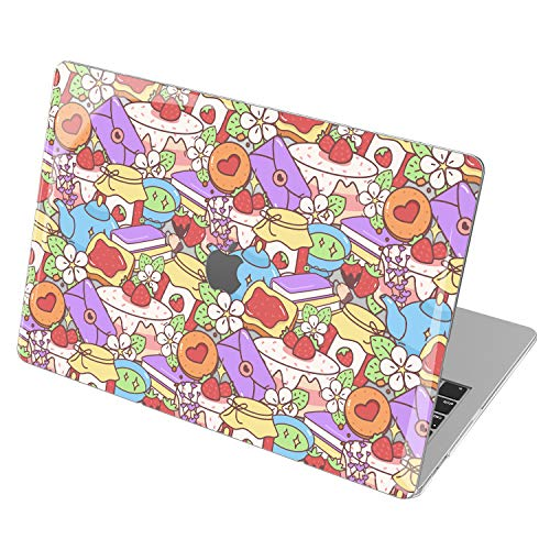 Lex Altern Hardshell Case for Apple MacBook Air 13 2020 Mac 16 2019 Pro 15 inch Retina 2018 2017 12 11 Clear Strawberry Jelly Toast Pattern Cover Laptop Lavender Cute Protective Cake Touch Bar mch031