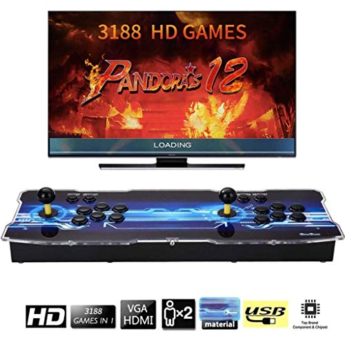 Arcade Machine 3188 Juegos clásicos, Pandora Box 12 con 3188 Juegos Retro Consola Maquina Arcade Video Gamepad , 4 Joystick Partes de la Fuente de alimentación HDMI y VGA y Salida USB