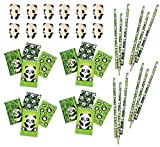 40 Piece Panda Pencils, Mini Notebooks & Eraser Party Favor Bundle Pack for Kids