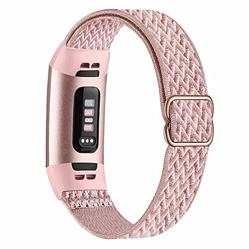 Fengyiyuda Elastico Nylon Cinturino Compatibile con Cinturino Fitbit Charge 3/4,Regolabile Cinturinio per Smartwatch Donna Uomo Sportivo di Ricambio morbido Straps per Fitbit Charge 3/4,Rose Pink