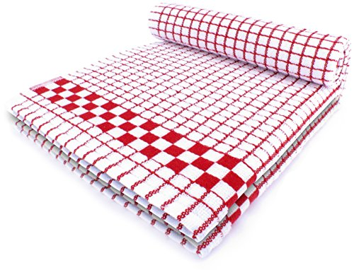 White and Red Dish Towels Set of 2