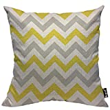 Mugod Chevron Throw Pillow Zigzag Wavy Geometric Stripe Line Yellow White and Gray Cotton Linen Square Cushion Cover Standard Pillowcase 18x18 Inch for Home Decorative Bedroom/Living Room/Car
