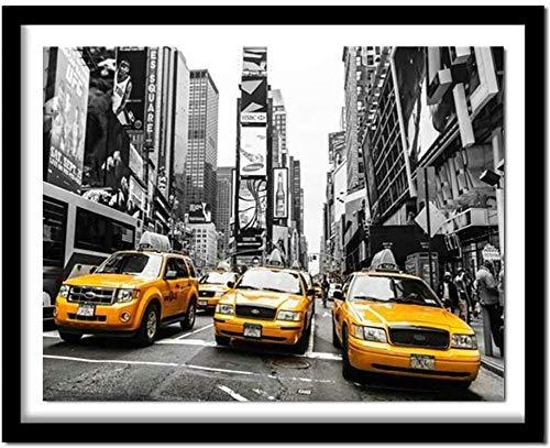 EDLSY 5D Kit Pintura Diamantes New York Street Taxi Cuadros Pintura Diamante Conjunto Completo Pintura Bricolaje por números Bordado Diamantes imitación Punto Cruz para coración 40 * 50cm