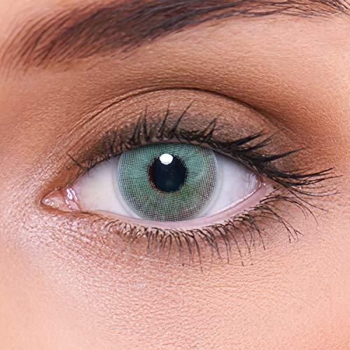 LENZOTICA Sehr stark natürlich deckende grüne Kontaktlinsen farbig HUSKY GREEN + Behälter von LENZOTICA I 1 Paar (2 Stück) I DIA 14.00 I ohne Stärke I 0.00 Dioptrien