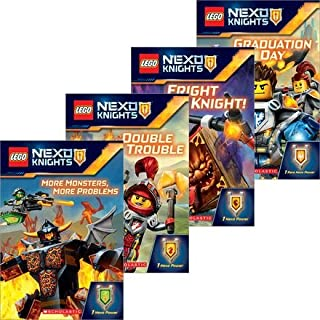 Lego Nexo Knights - 4 Book Set - Graduation Day - Double Trouble - Fright Knight - More Monsters, More Problems