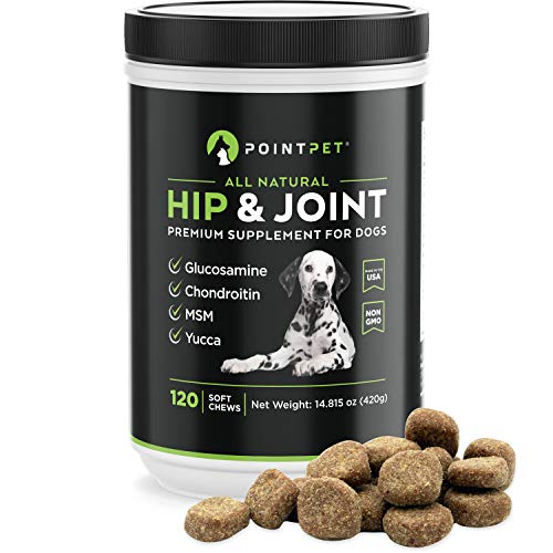 PointPet Hip and Joint Supplement for Dogs with Glucosamine, MSM, Chondroitin, Omega 3, 6, Vitamin E, Improves Mobility and Hip Dysplasia, Arthritis Pain Relief, 120 Soft Chews