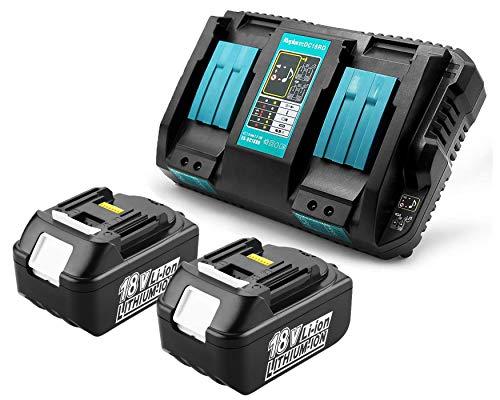 2x BL1850B 18V 5 Ah Batterie de rechange avec Chargeur DC18RD Chargeur double rapide pour Makita 18V BL1850B BL1860B, Makita Radio DMR108 DMR110 DUH523Z DUC353Z
