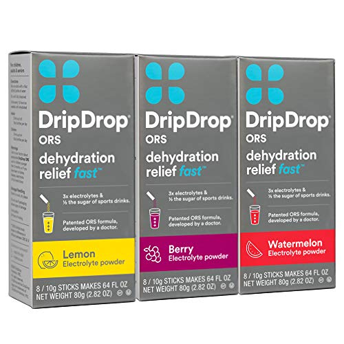 DripDrop ORS – Patented Electrolyte Powder for Dehydration Relief Fast - For Workout, Hangover, Illness, Sweating & Travel Recovery - Watermelon, Berry, Lemon Variety Pack - 24 x 8oz Servings