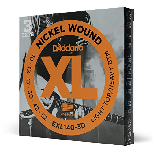 D'Addario Saiten für E-Gitarre |INDUSTRY STANDARD MADE IN USA | EXL140-3D | vernickelter Stahl | Light Tip/Heavy Bottom (10-52) | 3er Pack
