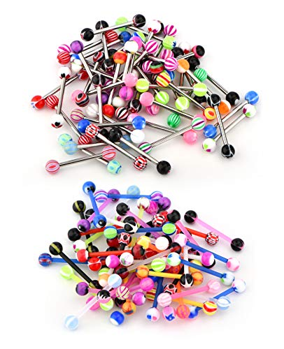 JFORYOU 100Pcs 14G Tongue Rings Stainless Steel and Acrylic Nipple Tongue Piercing Assorted Candy Barbells Body Piercing Jewelry