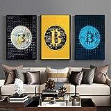 SHKJ Lienzo Abstracto Impresión de Imagen de Bitcoin Póster de Pintura e Impresiones Imagen de Arte de Pared Minimalista Moderno para decoración del hogar 70x90cm / 27.5'x35.4 X3 Sin Marco