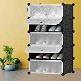 SAMDIYA Large 5 Tier Cube DIY Portable Shoe Storage Organizer Tower Interlocking Shoe Rack, Modular Cabinet Shelving For Space Saving With Door to Store Shoes And Accessories. (5 Layer)