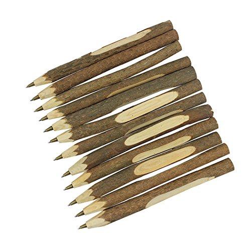 Sipliv fatto a mano penna a sfera in legno creativo originale penna in legno ecologico stile lungo (circa 6,7 pollici, 17 cm) - 12 pezzi