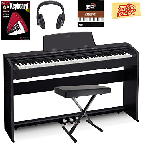 Casio Privia PX-770 Digital Piano - Black Bundle with Adjustable Bench, Instructional Book, Austin Bazaar Instructional DVD, and Polishing Cloth