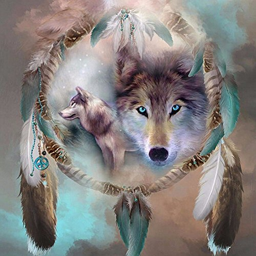 MXJSUA DIY 5D Diamond Painting Kits Full Drill Round Crystal Rhinestone Pictures Arts Craft for Home Wall Decor Gift Dreamcatcher Wolf 14x14in
