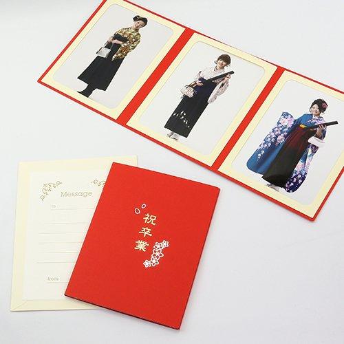 山田屋台紙店 写真台紙 ペーパーフォトフレーム ポケット台紙 『祝卒業/さくら』 2Lサイズ 3面タテ (レッド)