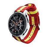 Estuyoya - Pulsera de Nailon compatible con Samsung Galaxy Watch 3 45mm/ Gear S3 Frontier / Classic / Colores Bandera de España 22mm Ajustable Transpirable Deportiva Casual Elegante - Rojo-Amarillo