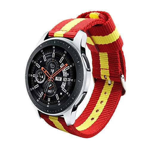 Estuyoya - Nylon armband compatibel met Samsung Gear S3 Frontier/Classic/Galaxy Watch 46mm Kleuren Vlag van Spanje 22mm Verstelbaar Ademend Sportief Casual Elegant - Rood-Geel