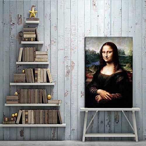 wZUN Mona Sonriendo Elegante Sala de Estar decoración Retrato Pintura Lienzo, Utilizado para Pintar Sala de Estar 50x75cm
