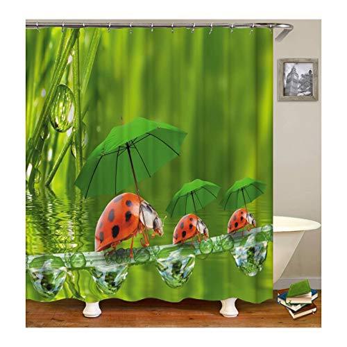 Beydodo Wasserdicht Duschvorhang Vintage DREI Marienkäfer Duschvorhang Anti-Schimmel 90x180 cm