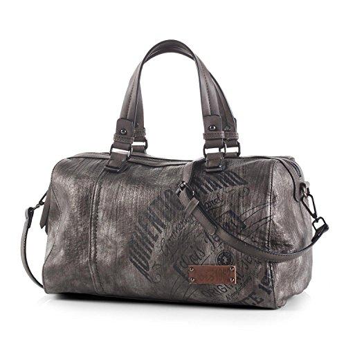 Lois - Handtasche für Damen. Bowling Bag. Doppelt Griffe und Schultergurt. Schultertasche für Reisen oder einkaufen. Lässiges Design. 90531, Color Metallic-Grau