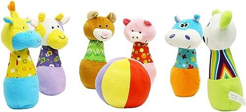 Havanadd-Toys Jeu de Bowling Coton Jeu de Bowling 6 Broches avec étui de Transport Amis Ensemble de Jeu préscolaire Jouet de Bowling (Couleur, Taille   20  20cm)