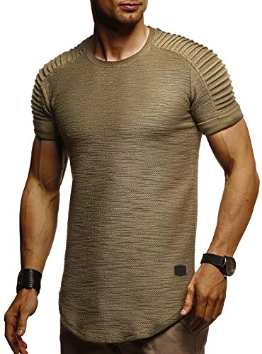 Leif Nelson Camiseta para Hombre con Cuello Redondo LN-6325 Caqui Small
