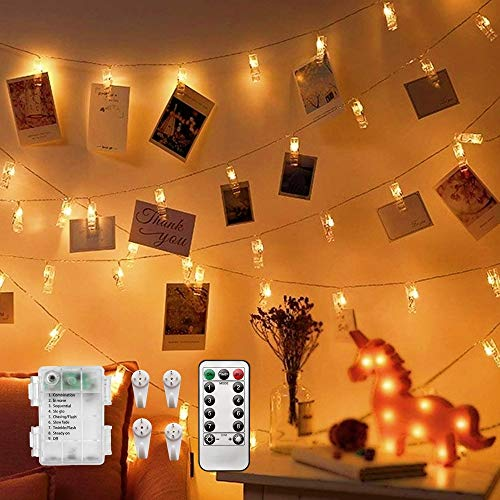 CADNLY String Lights with Clips - 50 LED Photo Clips String Lights for Bedroom Wall Display Polaroid Hanging Pictures - Fairy Lights Clips Dorm Room Decor - Picture Hanger Holder – Warm White