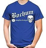 Bochum kämpfen & Siegen Männer und Herren T-Shirt   Fussball Ultras Geschenk   M1 (XL, Blau)