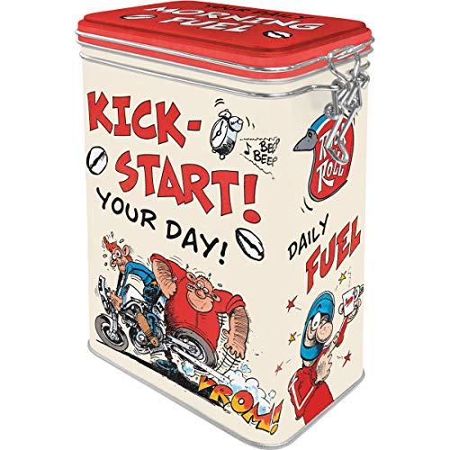 Nostalgic-Art Retro Kaffeedose MOTOmania-Kickstart, Idea Regalo per Motociclisti, Barattolo in Latta con Coperchio Salva-Aroma, Design Vintage, 1,3 l
