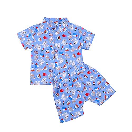 Baby Sommer Baby Jungen Patchwork Kleidung Strand Kurzarm Anzug + Hemd + Shorts Chic Print Elastische Taille Bunt Gr. 18 Monate, D