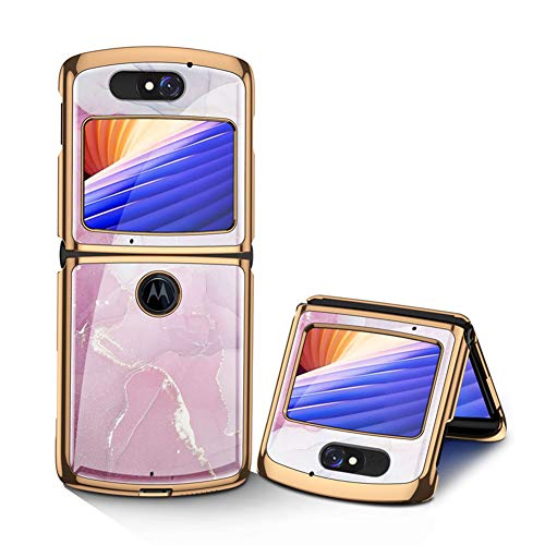 Hülle für Motorola Razr 5G Hardcase Stoßfest Schutzhülle PC + 9H Gehärtete Glasabdeckung, Superdünne handyhülle für Motorola Razr 5G, Pink Lila