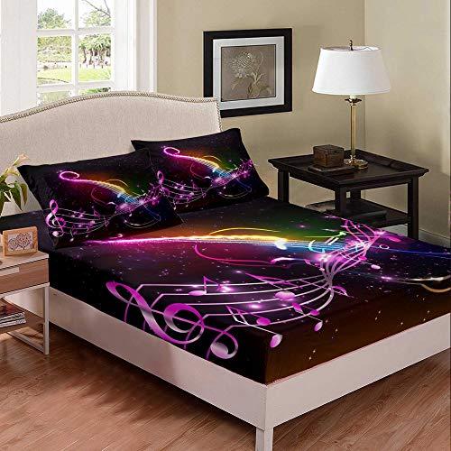 Juego de sábanas musicales con diseño de guitarra y nota musical, juego de cama de 3 piezas para niños y niñas, sábanas de poliéster suave (1 sábana bajera + 2 fundas de almohada) tamaño doble