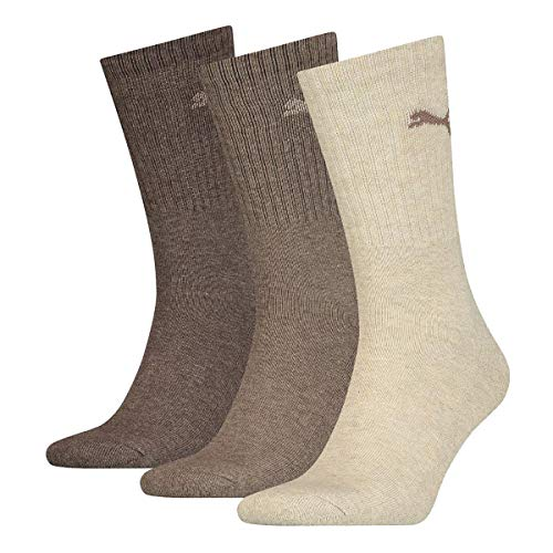 PUMA Unisex-Adult 7312 Sport (3 Pack) Socks, Light Brown Melange, 35/38