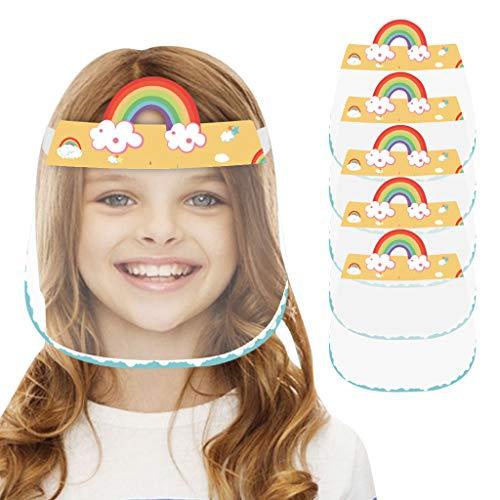 OVERMAL 5PCS Pantalla ProteccióN Facial Transparente Niños, Pantálla Protectora Cára, Protector Facial, Visera Protectora con Agarre de Velcro Trasero (Amarillo)