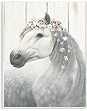 Stupell Industries Spirit Stallion Horse with Flower Crown Oversized Wall Plaque Art, Proudly Made in USA