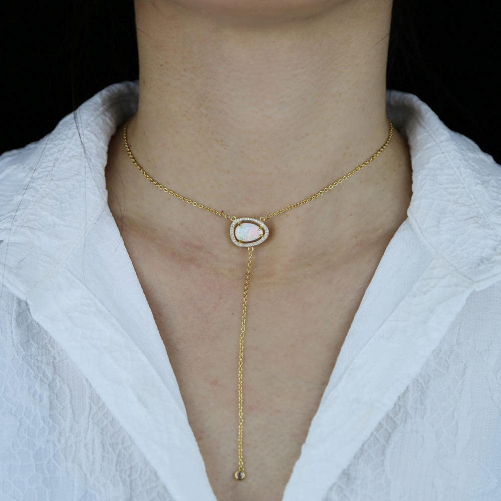 Gold Color Trendy Jewelry Water Drop Fire Opal Stone Micro Pave Bling Gift for Wedding Necklace Lariat 40cm