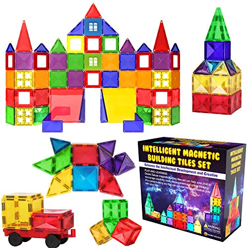 Desire Deluxe Magnetic Building Blocks Tiles STEM Toy Set 57PC – Kids Learning Educational Construction Toys for Boys Girls Present Age 3 4 5 6 7 Year Old - Gift