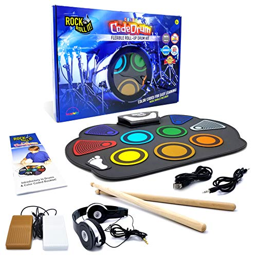 Rock And Roll It - CodeDrum. Flexible Roll Up Color Coded Electric Drum Kit, Easy Learning & Play for Beginners! Portable, Drumsticks+Bass Drum/Hi Hat pedals+Headphones+Play-By-Color Music Book