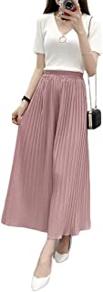Fashring Women's Long Pant Elastic Waist Ruffle Hem Pleated Loose Summer Youga Legging Pants
