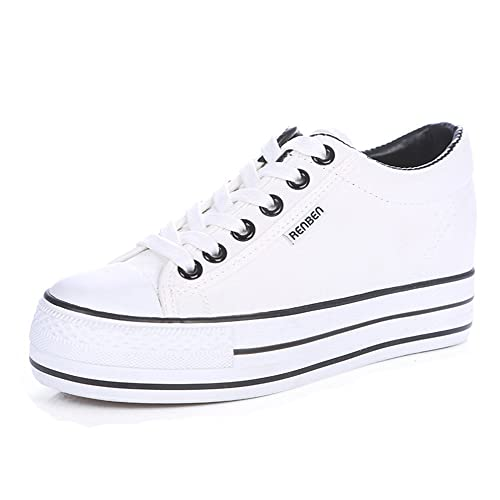 e551a6b38fd6 Aisun Women s Casual Round Toe Elevator Thick Sole Lace Up Platform Canvas Sneakers  Shoes