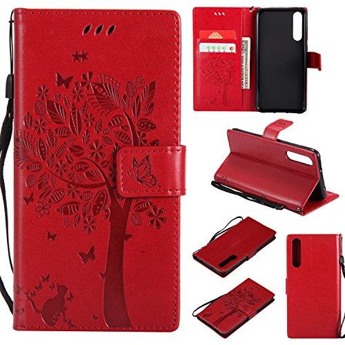 Shinyzone Hülle für Huawei P20 Pro Flip Brieftasche Leder Hülle,Niedlich Karikatur Geprägte Katze & Baum Muster Kartenfach Magnetverschluss mit Ständer Handyhüllen für Huawei P20 Pro,Rot