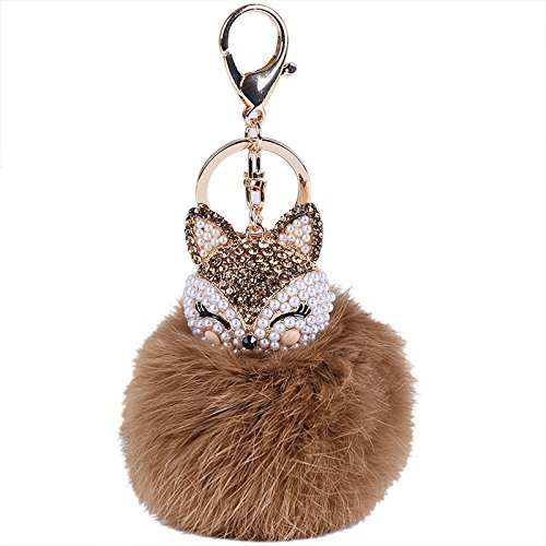 New Fur Ball with Artificial Fox Head Inlay Pearl Rhinestone Key Chain BW, Gifts for Women and Girls (Brown)