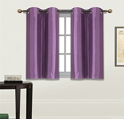 Elegant Home 2 Panels Tiers Grommets Small Window Treatment Curtain Faux Silk Semi Sheer Drape Short Panel 28' W X 36' L Each for Kitchen Bathroom or Any Small Window # N25 (Lilac/Purple)