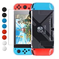 Dockable Design: The Switch cover case allows the switch fit in the dock without taking off the protective cover; fits snug on joy cons, and in dock Durable and Nice Look: The clear protective shell for Nintendo Switch is made of hard plastic; Sturdy...