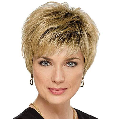 HAIRCUBE court Pixie coupé perruques de cheveux humains Moelleux Omber cheveux blonds avec des perruques de racine noire pour les femmes