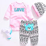 Pedolltree Reborn Baby Dolls Clothes Pink Outfits for 20'- 22' Reborn Doll Girl Baby Clothing Baby Sets