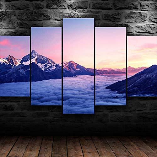 Gxucoa Cuadro En Lienzo 5 Piezas Cuadros Lienzo Naturaleza Nublado Montaña Paisaje Moderno Impresiones En HD Fotos Decoración para El Hogar 5 Piezas Artística Cuadros Decoracion De Pared